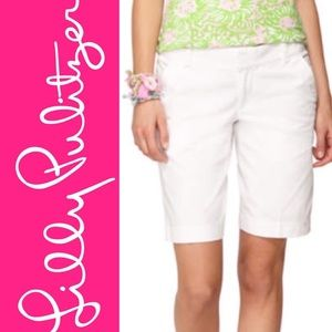 Lilly Pulitzer White Long Palm Beach Shorts
